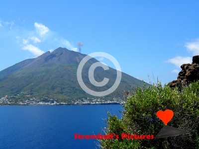 The island of Stromboli seen from the top of Strombolicchio